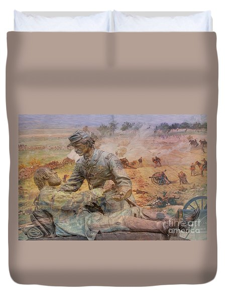 Friend To Friend Monument Gettysburg Battlefield Duvet Cover by Randy Steele