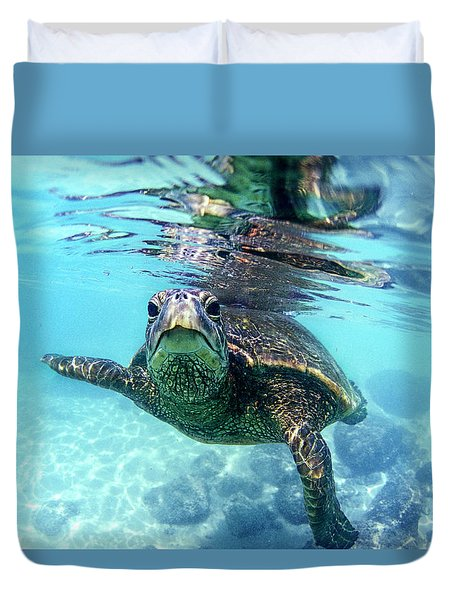 friendly Hawaiian sea turtle  Duvet Cover