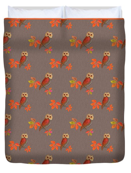 Duvet Cover featuring the mixed media Friendly Owls On Biscuit Brown by Nancy Lee Moran