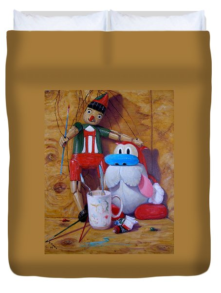 Friends 2  -  Pinocchio And Stimpy   Duvet Cover