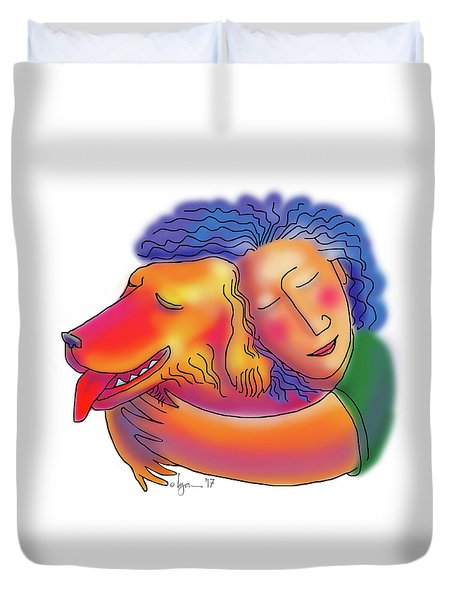 Duvet Cover featuring the drawing Friends by Angela Treat Lyon