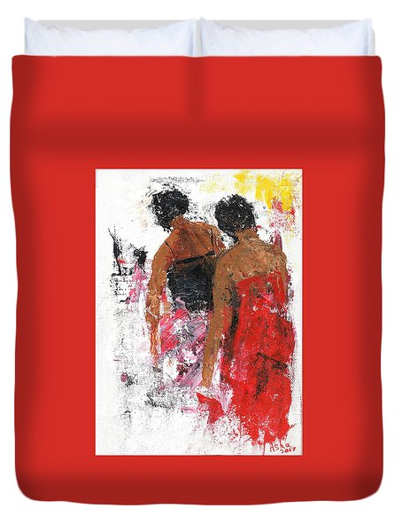 Duvet Cover featuring the painting Friends by Asha Sudhaker Shenoy