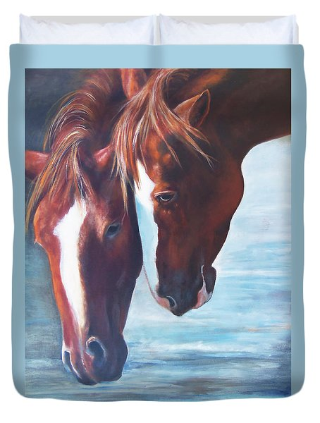 Duvet Cover featuring the painting Friends For Life by Karen Kennedy Chatham