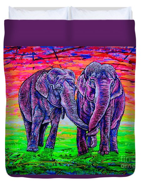 Duvet Cover featuring the painting Friends by Viktor Lazarev