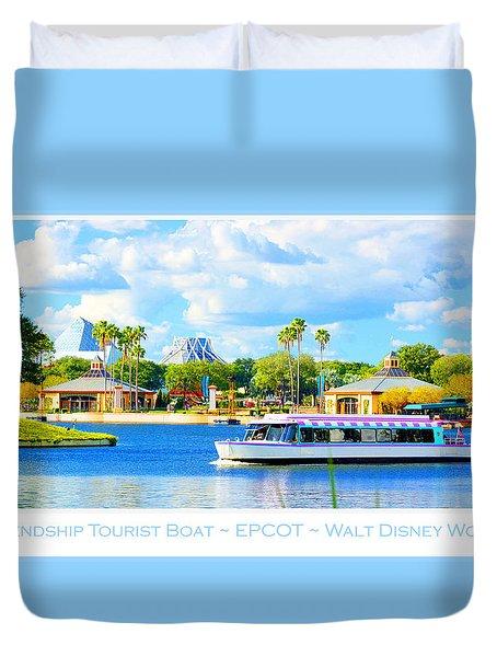 Friendship Boat On The Lagoon Epcot Walt Disney World Duvet Cover