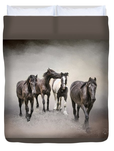 Friesian Horses The Boys And Baby Sister Duvet Cover