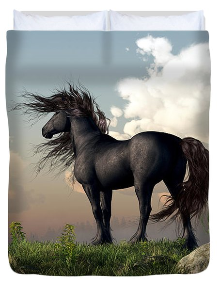 Duvet Cover featuring the digital art Friesian Moon by Daniel Eskridge