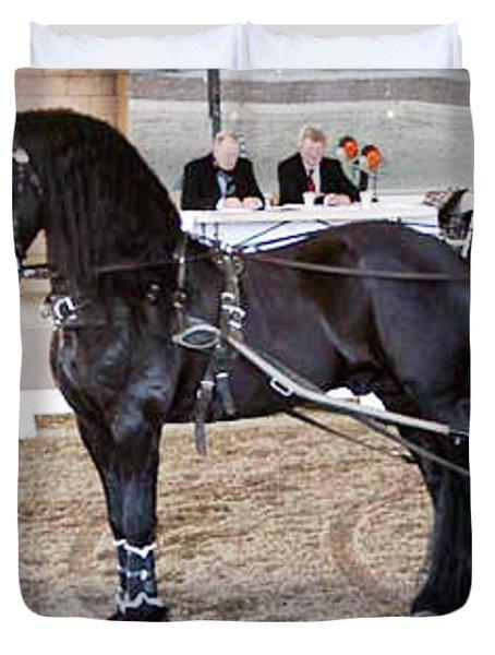 Friesian Stallion Under Harness Duvet Cover