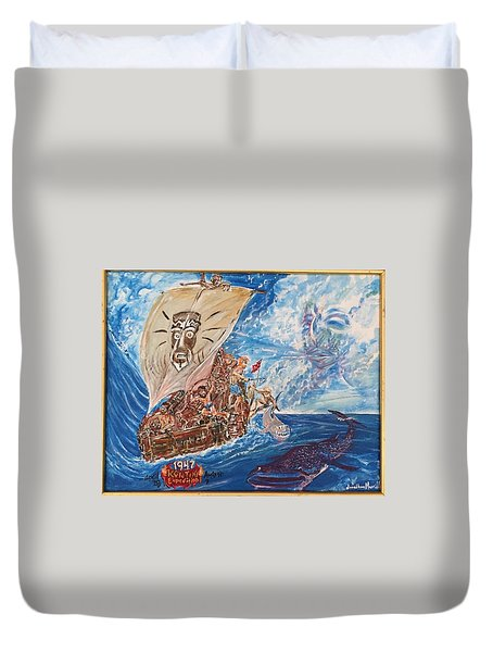Friggin In The Riggin - Kon Tiki Expedition Duvet Cover