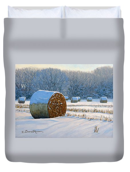 Frigid Morning Bales Duvet Cover by Bruce Morrison
