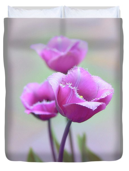 Duvet Cover featuring the photograph Fringe Tulips by Jessica Jenney
