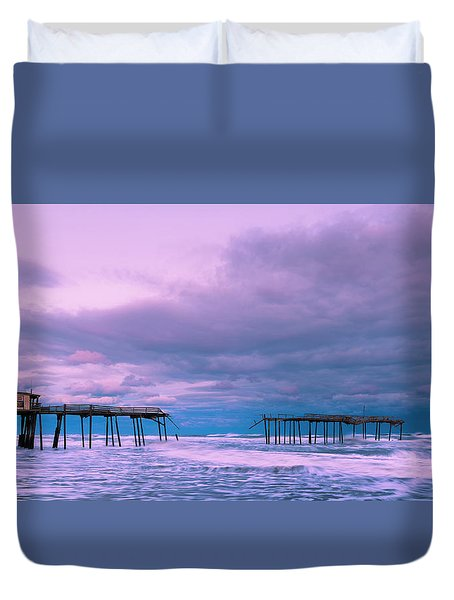 Duvet Cover featuring the photograph Frisco Fishing Pier And Clouds Panorama by Ranjay Mitra