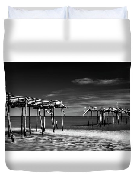 Duvet Cover featuring the photograph Frisco Fishing Pier In Black And White Panorama by Ranjay Mitra