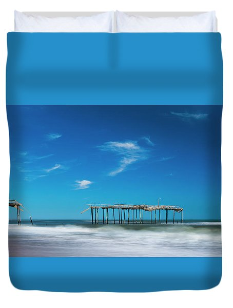 Duvet Cover featuring the photograph Frisco Fishing Pier In North Carolina Panorama by Ranjay Mitra