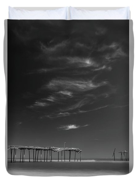 Duvet Cover featuring the photograph Frisco Pier In North Carolina And Clouds In Black And White by Ranjay Mitra