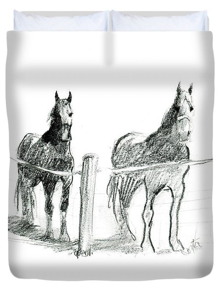 Friesian Horses Duvet Cover