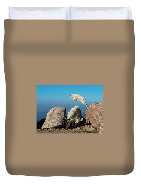 Leaping Baby Mountain Goat Duvet Cover