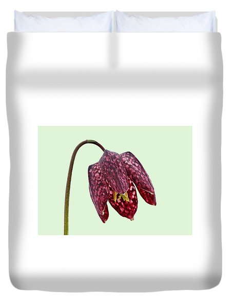Duvet Cover featuring the photograph Fritillaria Meleagris - Green Background by Paul Gulliver