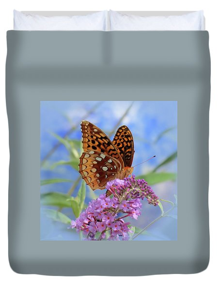 Fritillary On Blue Duvet Cover by MTBobbins Photography