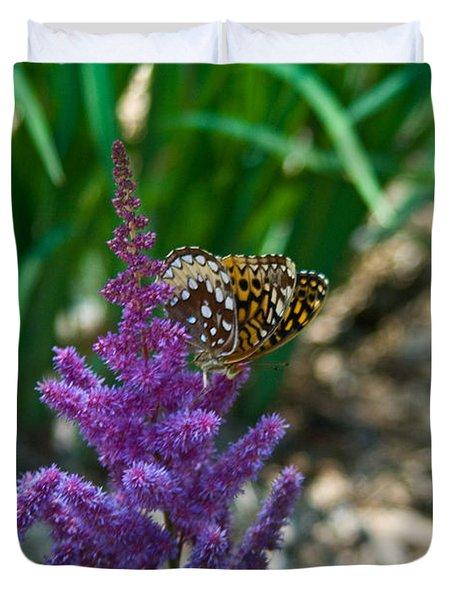 Fritllary Butterfly On Astilbe Duvet Cover
