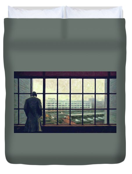 Frits Is Overlooking His Philips Plants In Eindhoven Duvet Cover by Nop Briex