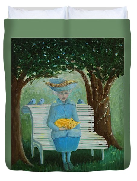 Duvet Cover featuring the painting Frk Blund by Tone Aanderaa