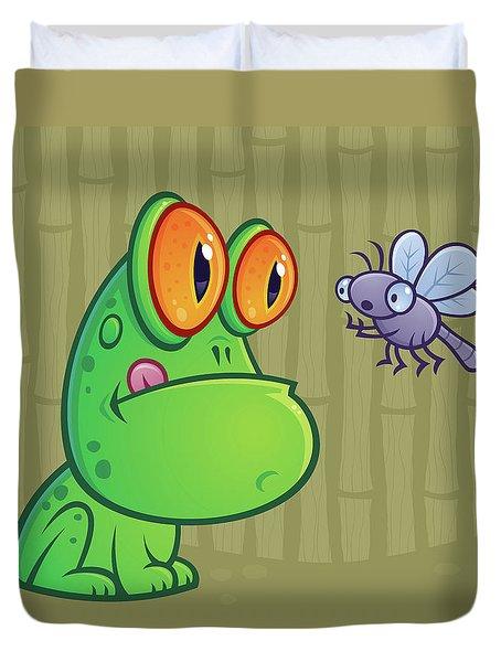 Frog And Dragonfly Duvet Cover by John Schwegel
