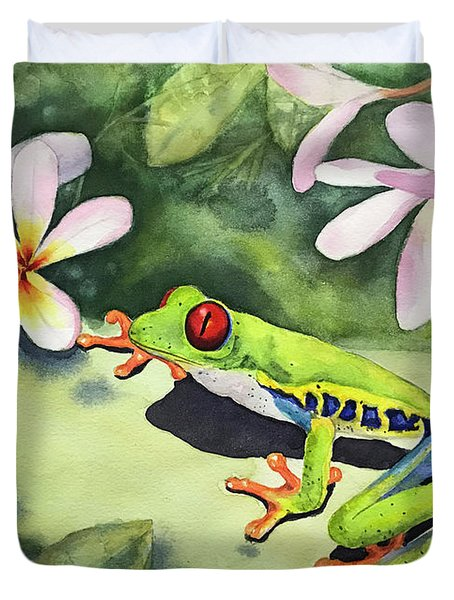 Frog And Plumerias Duvet Cover
