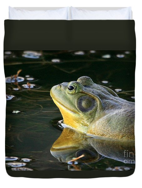 Frog At Sunset Duvet Cover