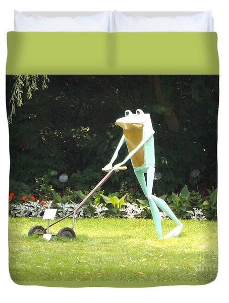 Frog Cutting Grass Duvet Cover