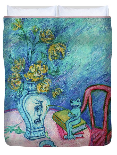 Duvet Cover featuring the painting Frog Fishing Under Chrysanthemums by Xueling Zou