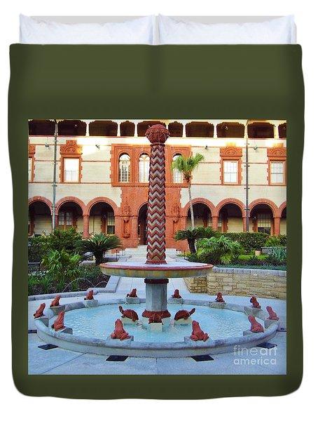 Frog Fountain Duvet Cover