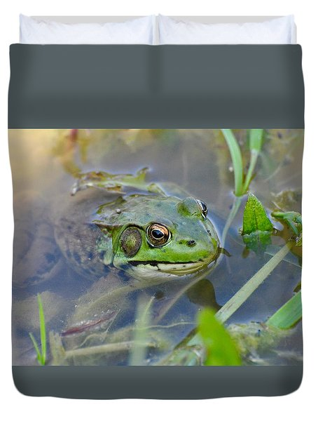 Frog Hiding In The Pond Duvet Cover