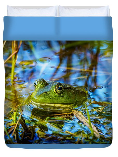 Frog In My Pond Duvet Cover