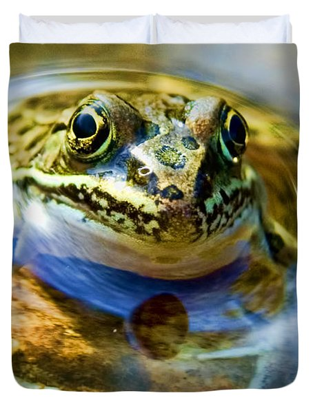 Frog In Pond Duvet Cover