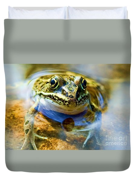Frog In Pond Duvet Cover