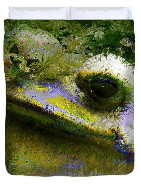 Duvet Cover featuring the photograph Frog In The Pond by Lori Seaman