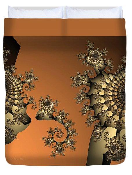 Duvet Cover featuring the digital art Frog King by Karin Kuhlmann