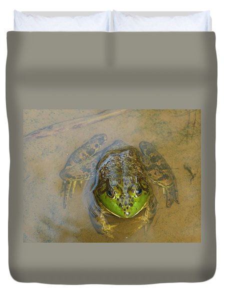 Duvet Cover featuring the photograph Frog Of Lake Redman by Donald C Morgan