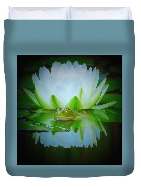 Frog Of The Lily Duvet Cover by MTBobbins Photography