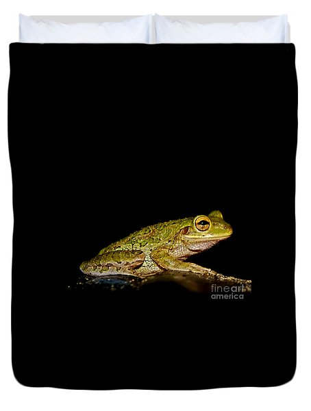 Duvet Cover featuring the photograph Cuban Tree Frog by Olga Hamilton