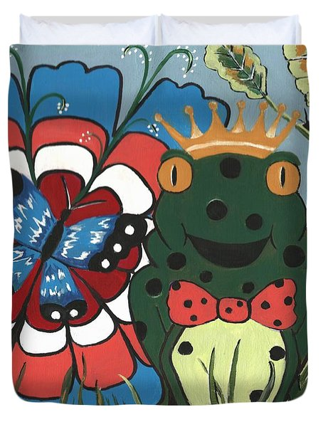 Duvet Cover featuring the painting Frog Prince And His Kingdom by Kathleen Sartoris