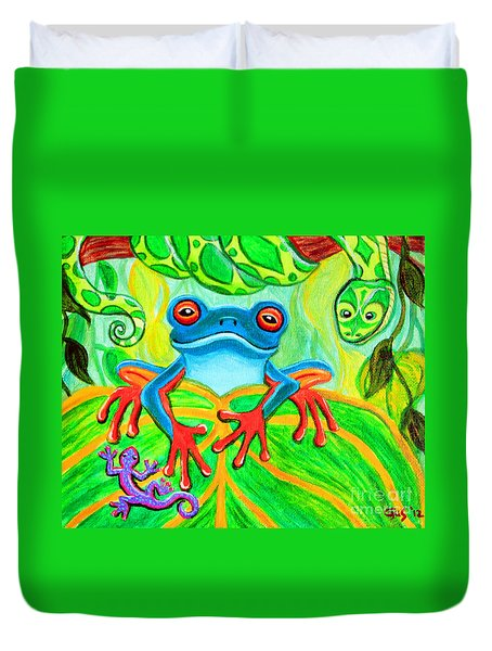 Frog Snake And Gecko In The Rainforest Duvet Cover by Nick Gustafson