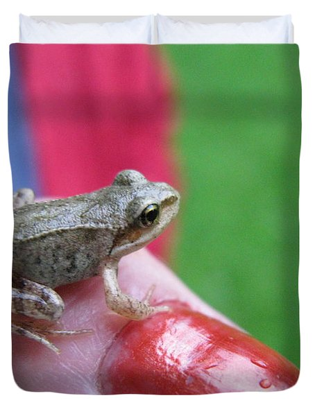 Duvet Cover featuring the photograph Frog The Prince by Ausra Huntington nee Paulauskaite