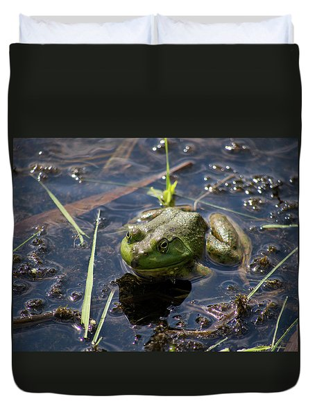Duvet Cover featuring the photograph Frog  by Trace Kittrell