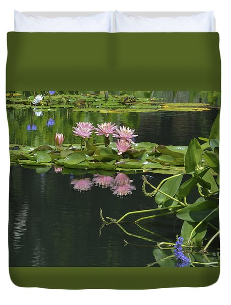 Water Lily Reflections Duvet Cover by Linda Geiger