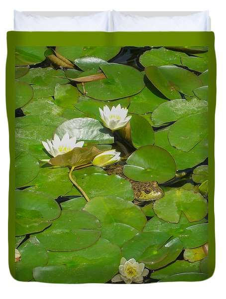 Frog With Water Lilies Duvet Cover