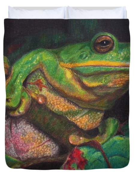 Duvet Cover featuring the painting Froggie by Karen Ilari