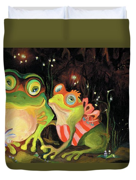 Duvet Cover featuring the painting Frogs At Silver Lake by Donna Hall