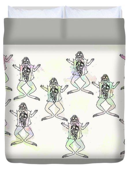 Frogs Go Pop  Duvet Cover by Keshava Shukla